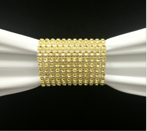 Dazzling Diamond Rhinestone Chair Sash Slips / Napkin Rings Gold