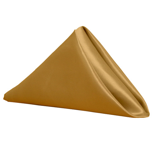 20 inch Satin Cloth Napkins Gold (Pack of 10) - Your Chair