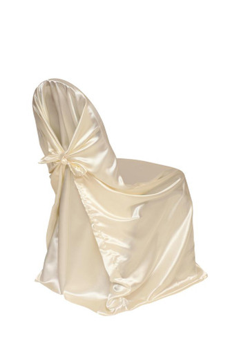 Satin Self Tie Universal Chair Cover Ivory Your Chair
