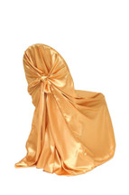 Satin Self-Tie Universal Chair Covers Gold