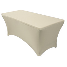 ivory rectangular spandex table covers