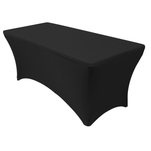 stretch spandex 8 ft rectangular table cover black your chair covers inc. Black Bedroom Furniture Sets. Home Design Ideas