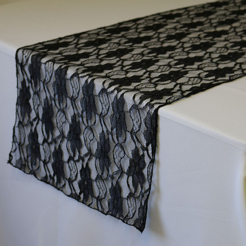 14 x 108 inch Lace Table Runner Black Your Chair Covers Inc