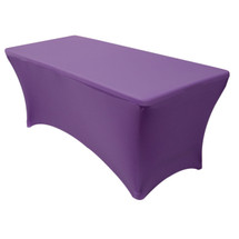 purple rectangular spandex table covers