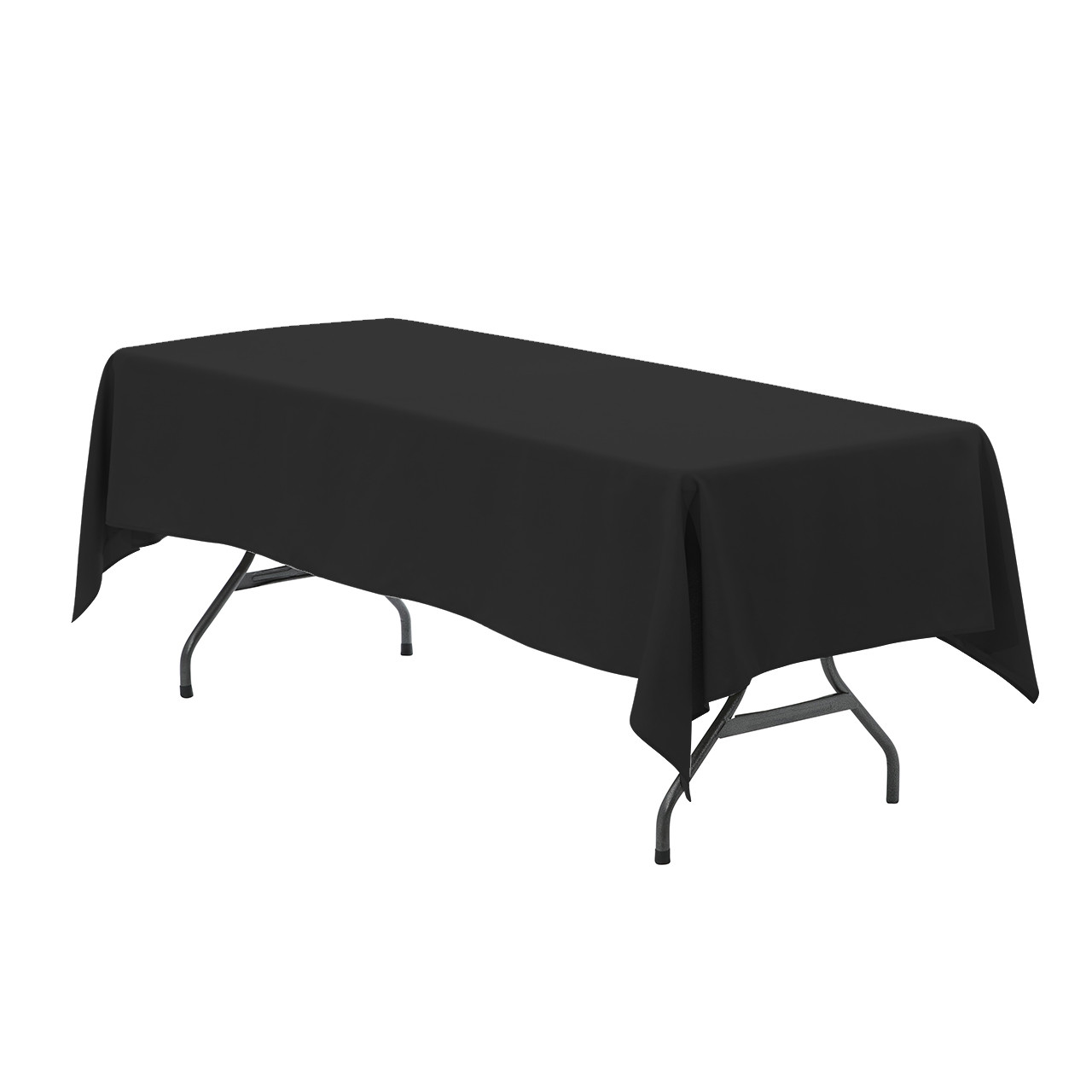 60 x 102 inch Rectangular Polyester Tablecloth Black ...