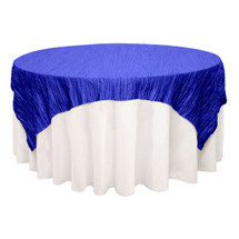 72 inch Square Crinkle Taffeta Table Overlays Royal Blue