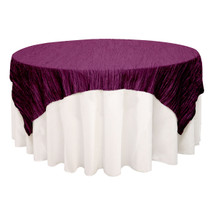 72 inch Square Crinkle Taffeta Table Overlays Eggplant