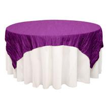 72 inch Square Crinkle Taffeta Table Overlays Purple