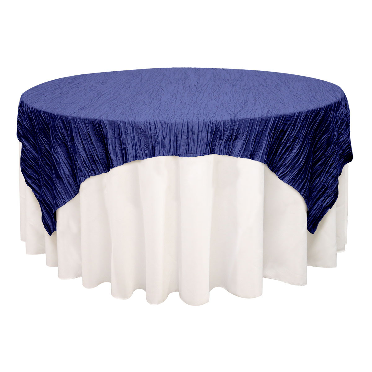 72 Inch Square Crinkle Taffeta Table Overlays Navy Blue