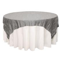 90 inch Square Crinkle Taffeta Table Overlays Dark Silver / Platinum