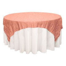 90 inch Square Crinkle Taffeta Table Overlays Coral