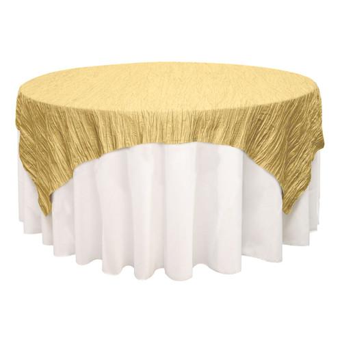Attirant 90 Inch Square Crinkle Taffeta Table Overlays Gold