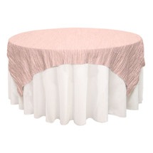 90 inch Square Crinkle Taffeta Table Overlays Blush