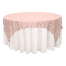 90 inch Square Crinkle Taffeta Table Overlays Blush