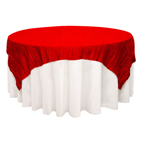 90 inch Square Crinkle Taffeta Table Overlays Red