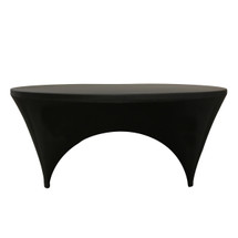 Stretch Spandex 6 ft Round Sides Open Table Covers Black