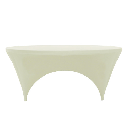 Stretch Spandex 6 ft Round Sides Open Table Covers Ivory