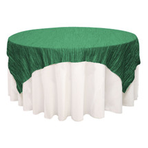 90 inch Square Crinkle Taffeta Table Overlay Hunter Green