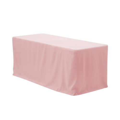 4 FT X 24 Inches Fitted Polyester Tablecloth Rectangular Blush