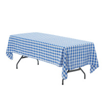 60 x 126 inch Rectangular Polyester Tablecloth Checkered Royal Blue