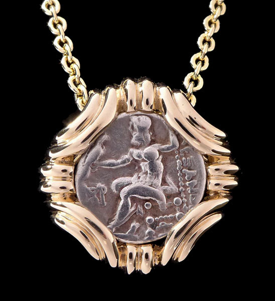 Ancient greek coin alexander gordian knot zeus gold pendant cpg200 ancient greek gordian knot style pendant with alexander the great silver drachma coin mozeypictures Images
