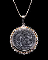 CPR208 - CONSTANTINE ANCIENT CHRISTIAN ROMAN ANGEL COIN IN 14KT GOLD BEADED PENDANT SETTING