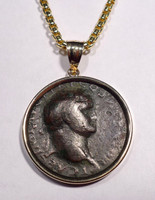 CPR212 - LARGE ANCIENT ROMAN BRONZE VESPASIAN COIN PENDANT IN 14KT GOLD