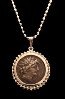CPG204 - BEAUTIFUL ANCIENT HELLENISTIC GREEK SELEUCID BRONZE COIN SET IN 14K GOLD PENDANT