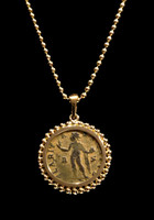 "CPR221 - ANCIENT ROMAN CONSTANTINE ""SOL"" SUN GOD COIN PENDANT IN 14K GOLD"