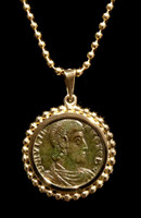 CPR219 - CONSTANTIUS II ANCIENT CHRISTIAN ROMAN COIN PENDANT IN 14K GOLD