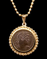 CPR220 - ANCIENT ROMAN COIN PENDANT IN 14K GOLD FEATURING BRONZE FIRST CHRISTIAN EMPEROR CONSTANTINE THE GREAT