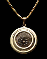 CB01 - WIDOW'S MITE COIN PENDANT WITH WIDE DOUBLE RIBBED POLISHED SETTING