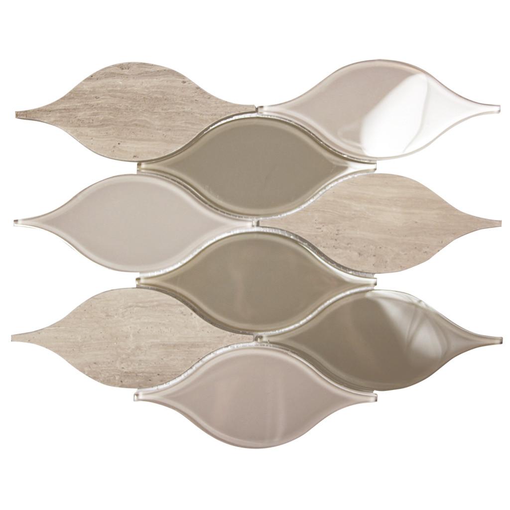 Chandelier Wood Grey Teardrop Glass Mosaic Tile
