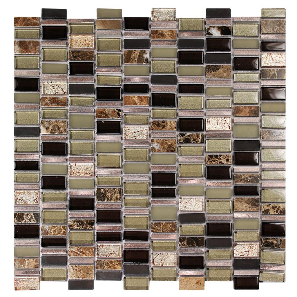 Ole Cafe Mix Glass, Metal & Stone Mosaic Tile