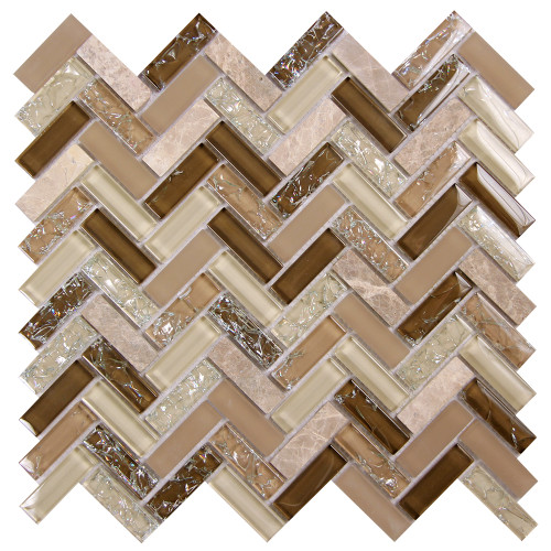 Archery Wedgewood Herringbone Mosaic Glass Tile