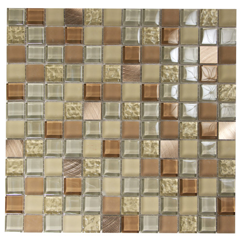 Coeus Majestic Tan Mosaic Glass Tile
