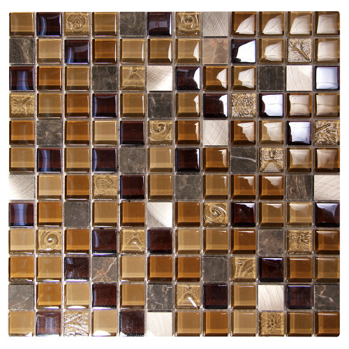 Coeus Majestic Brown Mosaic Glass Tile