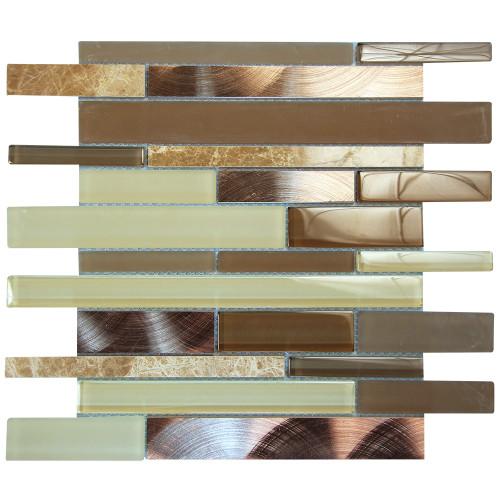 Eternital Light Emperador Mosaic Glass Tile