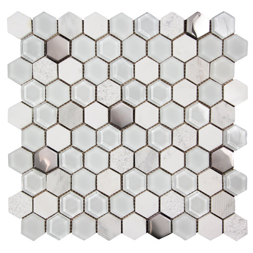Hexagon White Mosaic Glass Tile