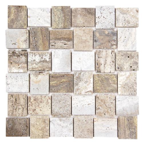 Linker Travertine Taupe Mosaic Stone Tile