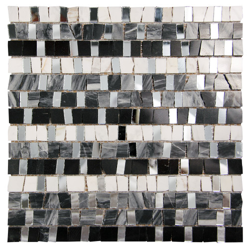Mont Blanc Marquina Mosaic Glass Tile