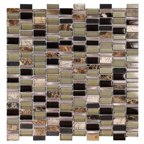 Ole Cafe Mix Glass, Metal & Stone Mosaic Tile