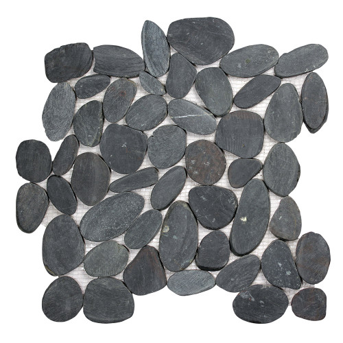 Pebble Stone Sliced Black Tile