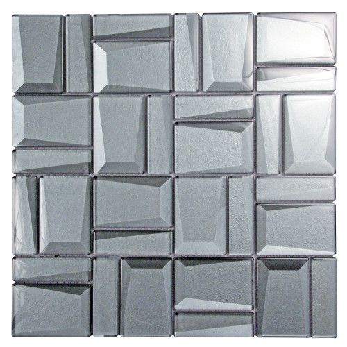 Prism Charcoal Geometric Mosaic Glass Tile