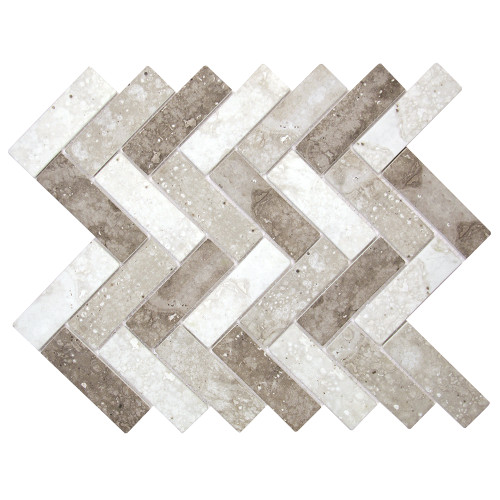 Spigacycle Silver Mix Herringbone Recycled Glass Tile