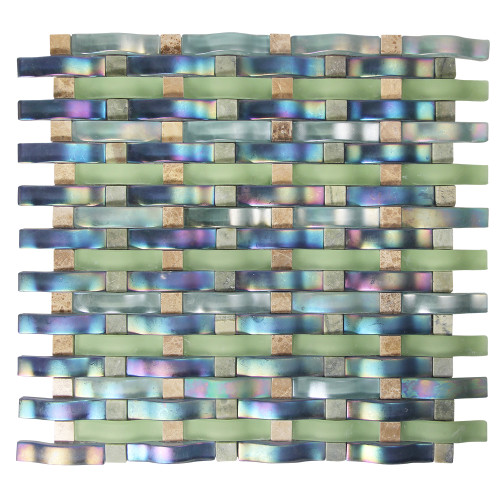 Woven Curved Georgette Mosaic Glass Tile