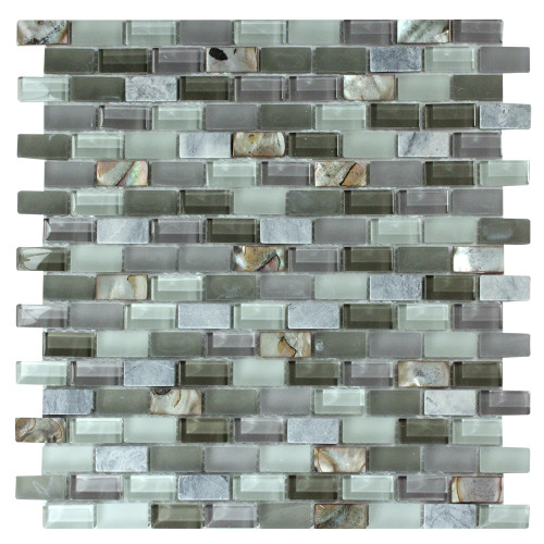 Agata Shell Mix Grey Mosaic Glass Tile