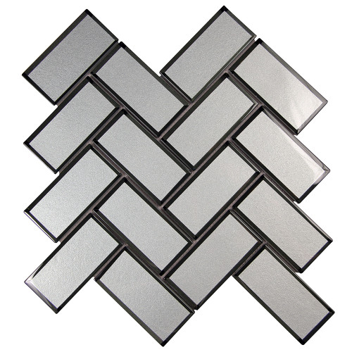 Mirror Grey Herringbone Mosaic Glass Tile
