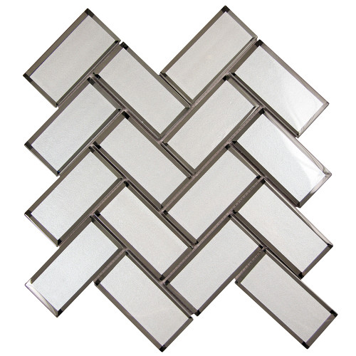 Mirror White Herringbone Mosaic Glass Tile