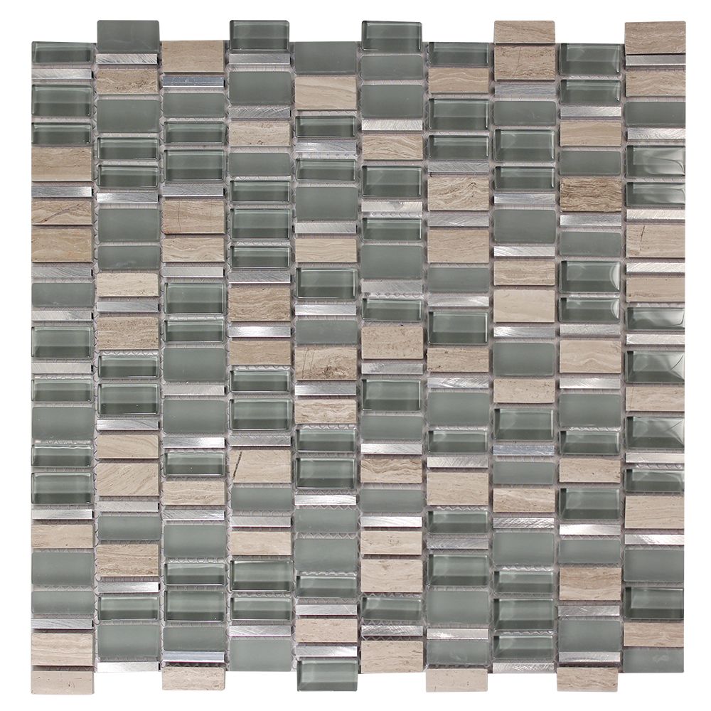 Ole Grigio Mix Glass Metal Stone Mosaic Tile